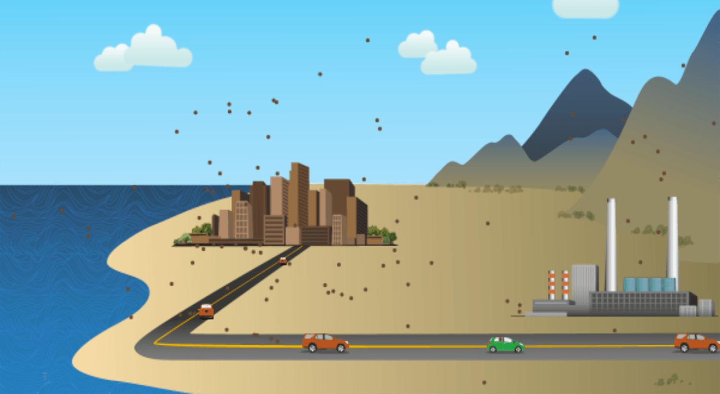 Air pollution simulation screen shot